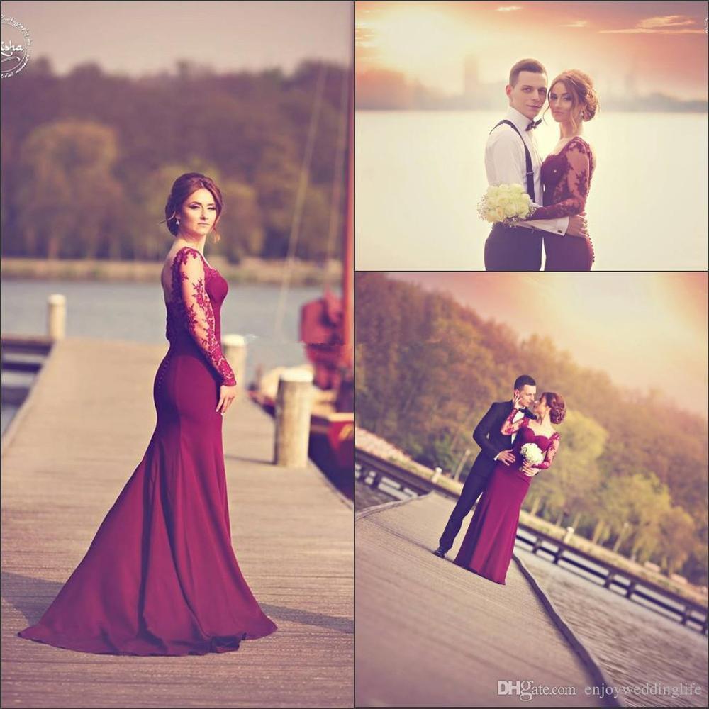 Elegant Sheer Long Sleeve Prom Dresses Mermaid Dark Red Top Satin Floor Length Applique Lace Prom Dresses Burgundy Prom Dresses