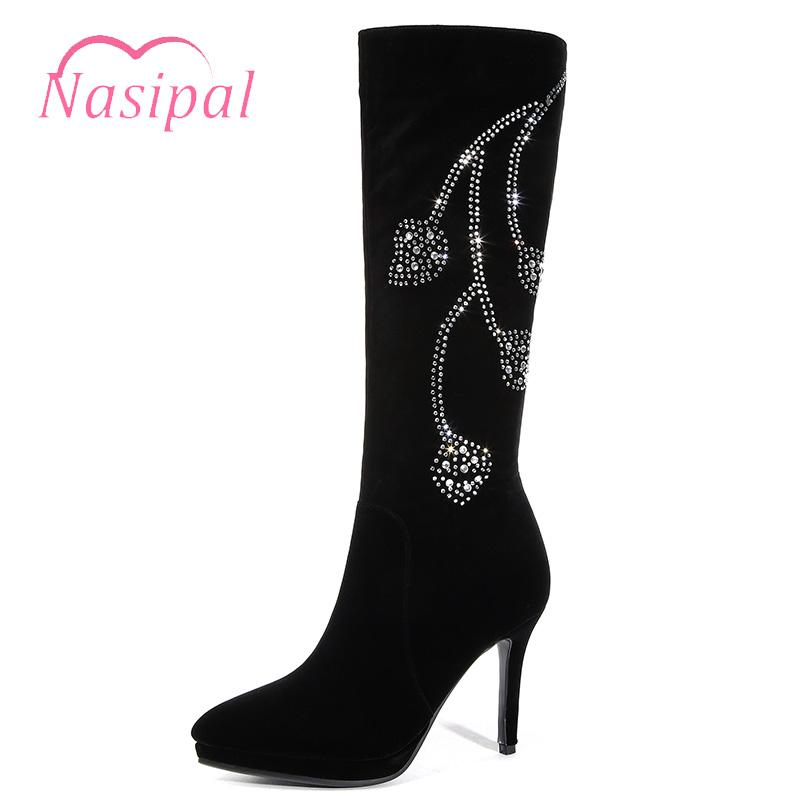 2e9536ea9bf Neoarry 2018 Autumn Winter Crystal Knee Boots Thin High Heel Sexy Rhinestone  Women Boots Solid Black Stiletto Zapatos De Mujer Mens Shoes Mens Boots  From ...