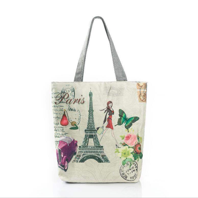 d42219a442e0 Wholesale Eiffel Tower Printed Canvas Tote Female Casual Beach Bags Large  Capacity Women Single Shopping Bag Daily Use Canvas Handbags Fashion Bags  Reusable ...