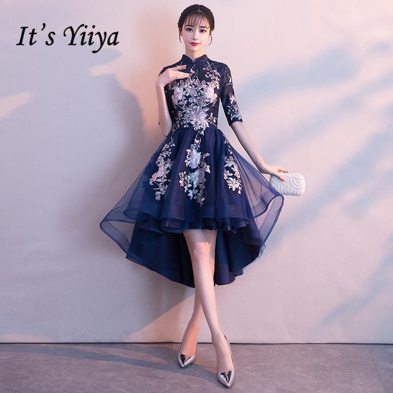 dd8d7f253b45 It's YiiYa High Collar Half Sleeve High-low Vintage Zipper Tea Length  Formal Dresses Embroidery Party Full Porm Dress MX002 C18111601