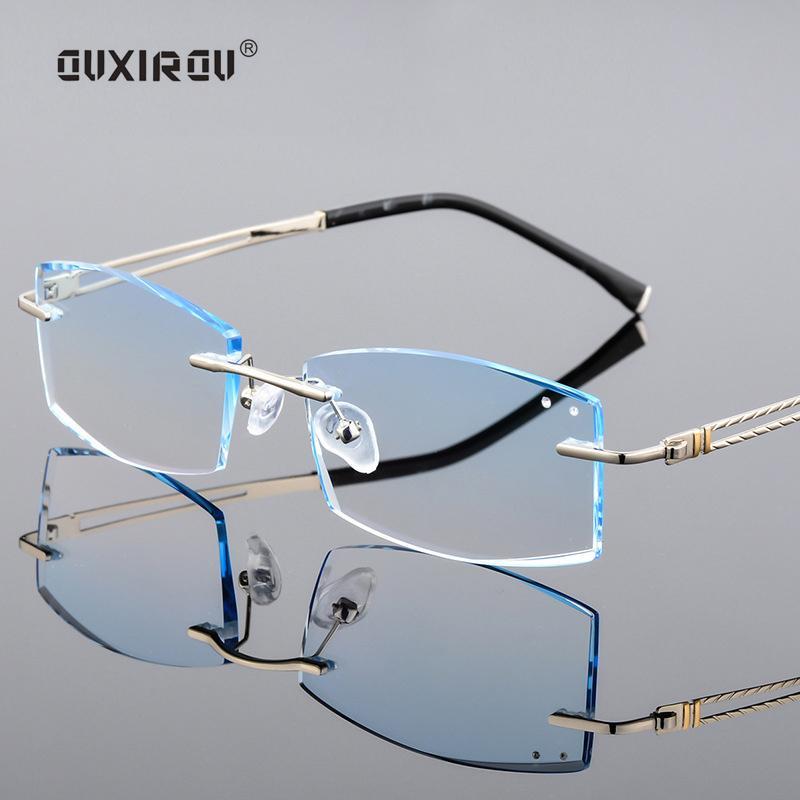 Großhandel Diamant Ausschnitt Randlose Brillen Männlich Luxus ...