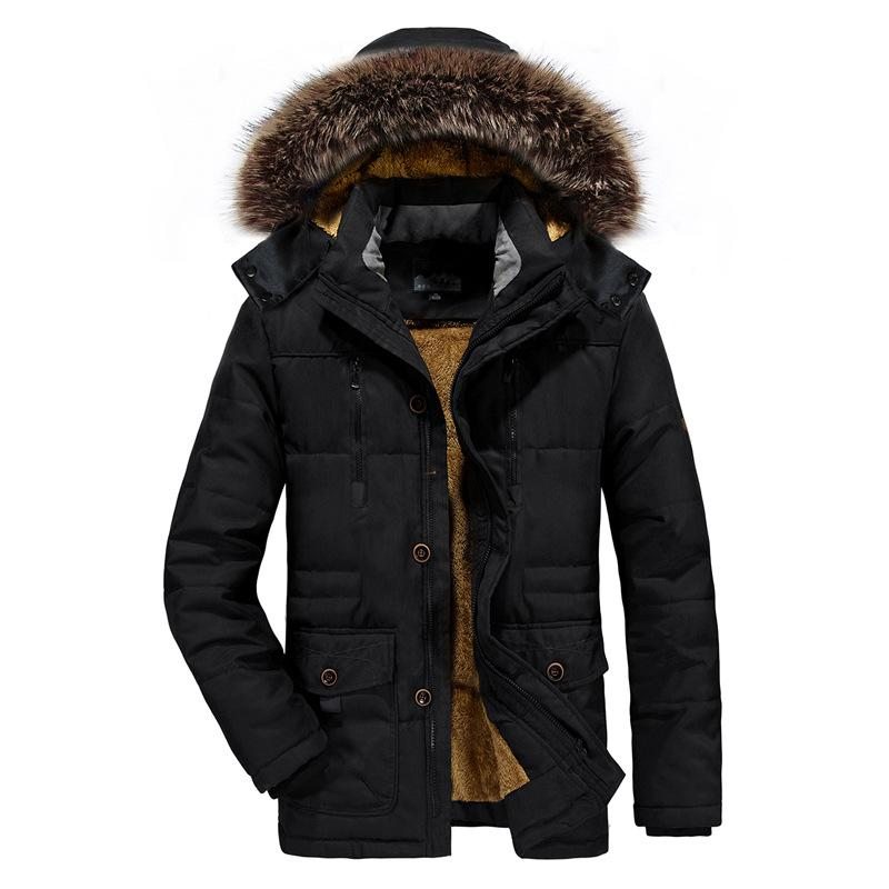 Großhandel ICPANS Parka Jacke Männer Lange Pelz Winter Parka Männer Mäntel  Plus Warme Schwarze Reißverschluss Jacke Herren Plus Größe XXXL 4XL 5XL 6XL  Von ... 709ae3af1c