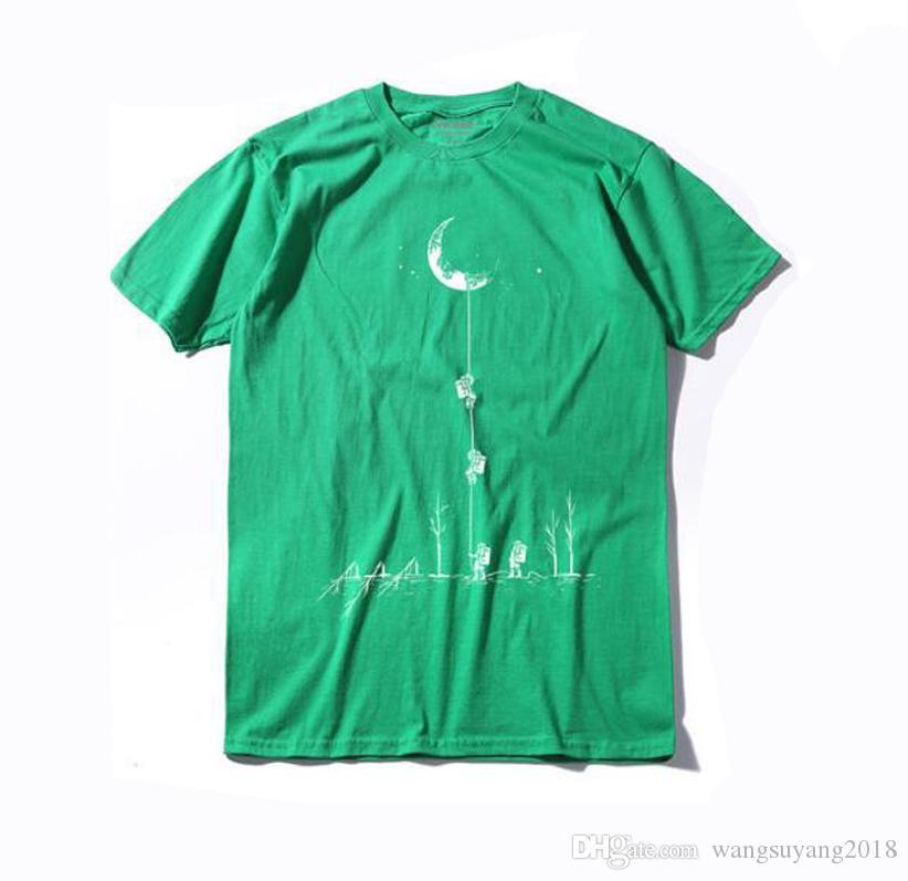 100% Baumwolle Casual Kurzarm Mond Theam Männer T-Shirt O-Ansatz gestrickte komfortable Stoff Street Style Männer T-Shirt