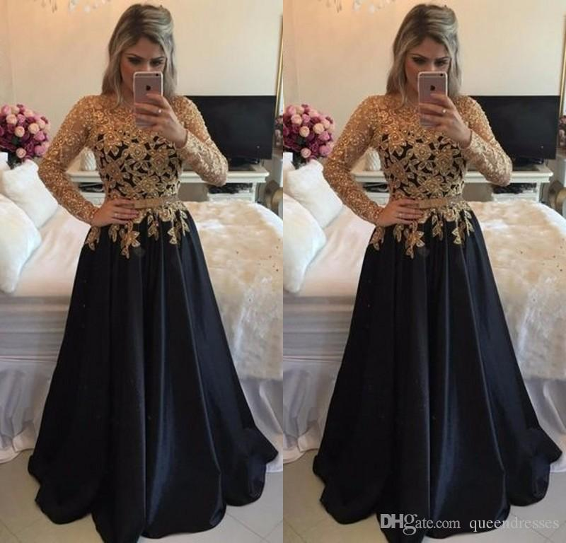 2b4d6b380d3f Sexy Gold And Blakc Long Sleeve Lace Prom Dresses Jewel A Line Floor Length  Sash Satin Prom Dress Formal Women Evening Party Gowns Online Canada 2019  From ...