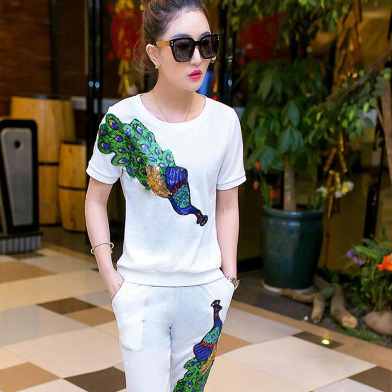 Summer Female Suit Peacock Trousers Suit With Sequins Women 'S Tracksuits Thin Pullover Women Set Clothing Female
