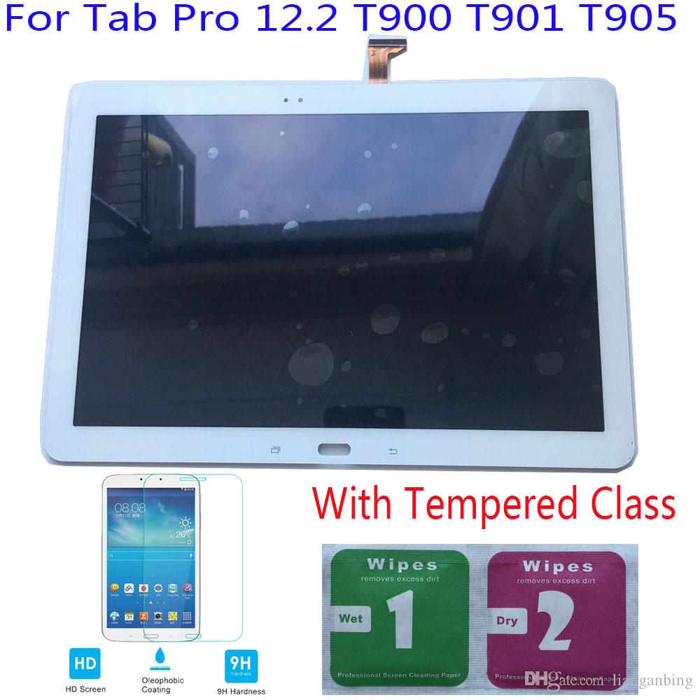 NEW LCD Display Touch Screen Digitizer For Samsung Galaxy Tab Pro 12.2 T900 T901 T905 Black/White With Tempered Glass DHL logistics