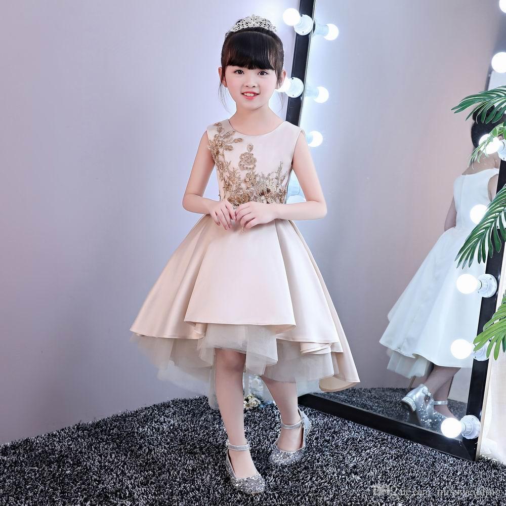 780e74c94 Asymmetrical Style Beautiful Girl's Dress Jewel Neckline Champagne ...