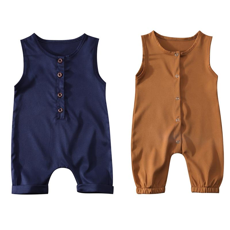 f2e39a76f1d Solid Color Newborn Infant Baby Boy Girl Sleeveless Cotton Romper ...