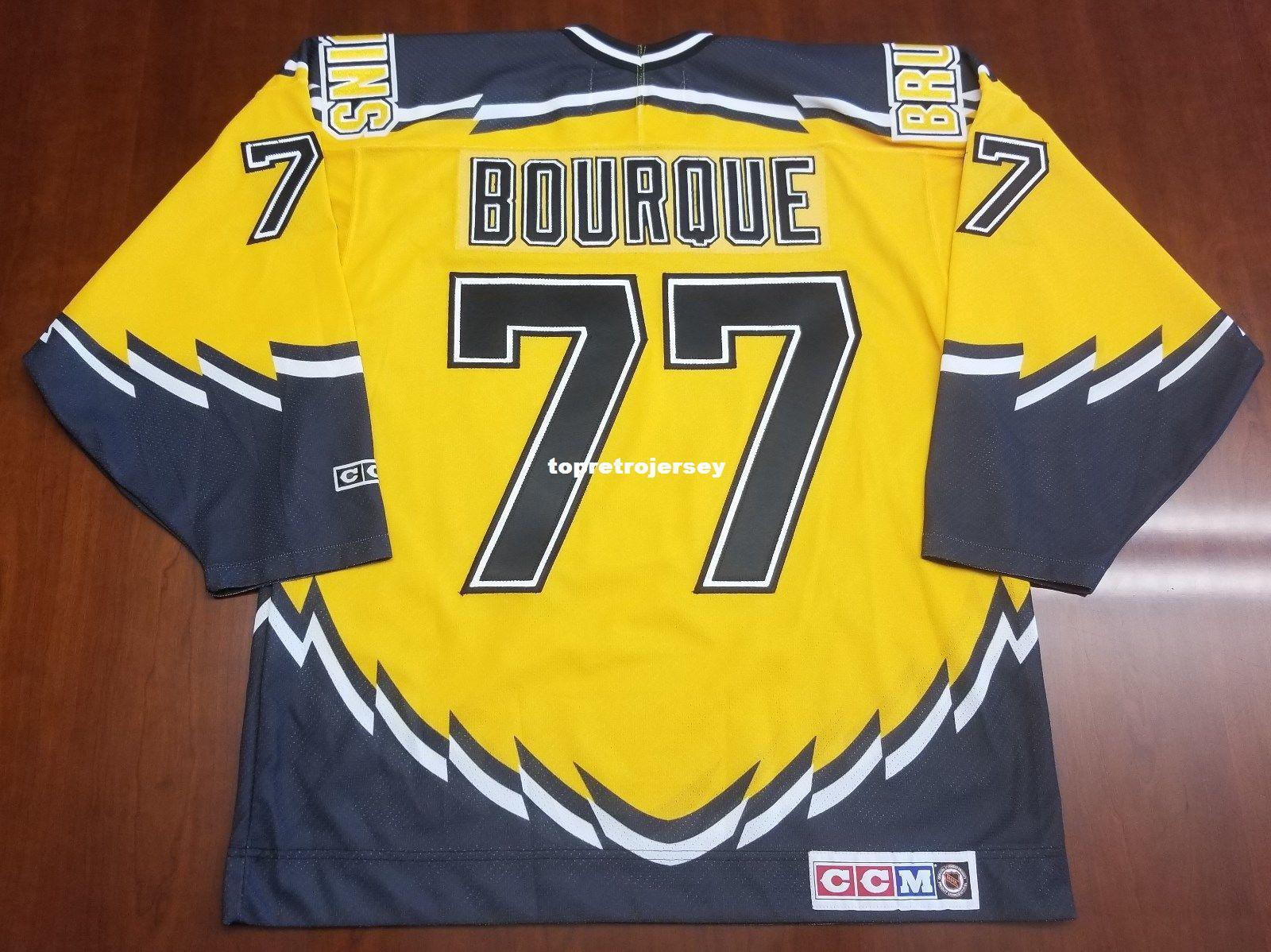 promo code d7501 8341f Wholesale Custom Ray Bourque Vintage CCM Boston Bruins Cheap Hockey Jersey  Yellow Third Pooh Bear Mens Retro Jerseys