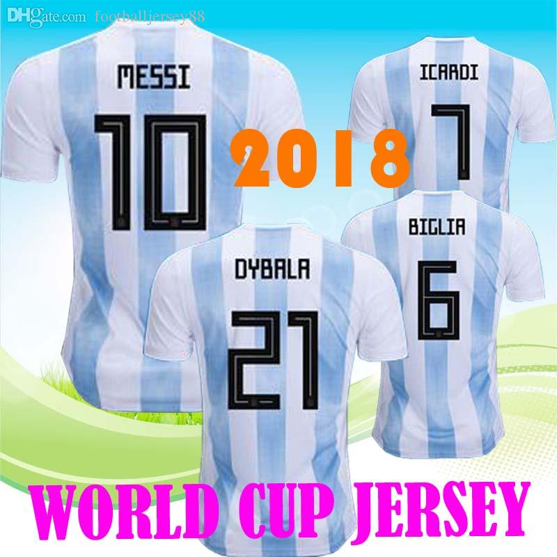 834cdb9db82 2019 Wholesale New Argentina World Cup Soccer Jersey 17 18 MESSI Home DI  MARIA AGUERO Thai Quality Argentina Football Shirts 2018 From  Footballjersey88