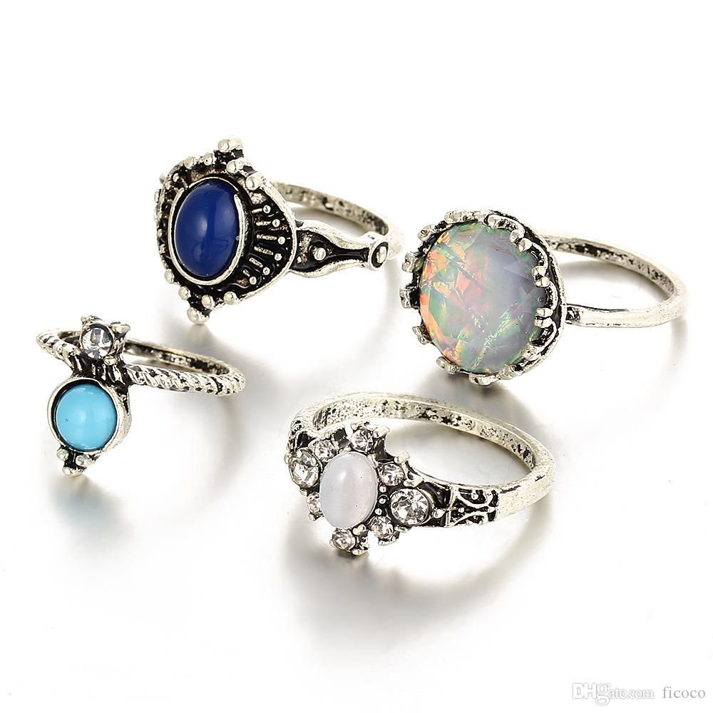 a3341e506 Wholesales Retro Opal Blue Gem Knuckle Ring Midi Finger Tip Rings ...