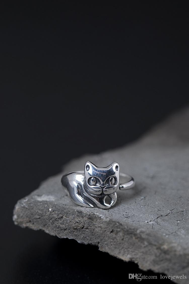 Fashion charm gift Sterling silver 925 ring Lady simple lovely cat ring Adjustable open Pet fine jewelry