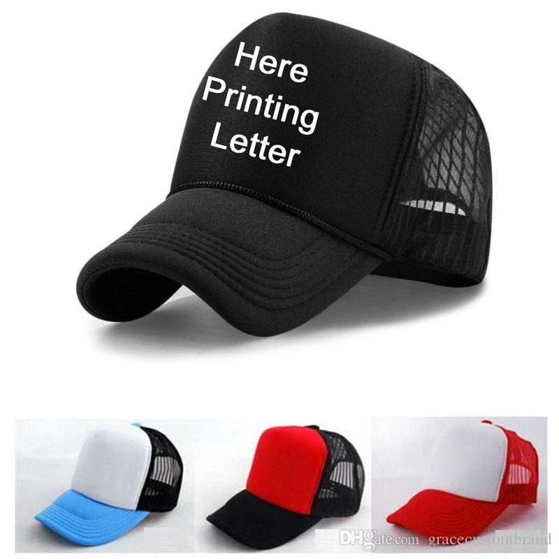 789538d824c High Quality Free Printing Letter Hat Custom Adult Trucker Cap Black ...