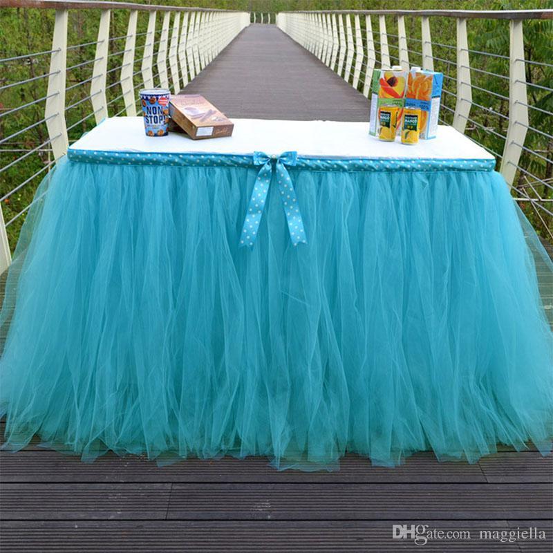 35b4562c1 1 UNIDS Dot Bow-knot Falda de Mesa de Tul DIY Tutú Vajilla Faldas para la  Fiesta de Cumpleaños de La Boda Decoración Favors Baby Shower 91.5 * 80 ...
