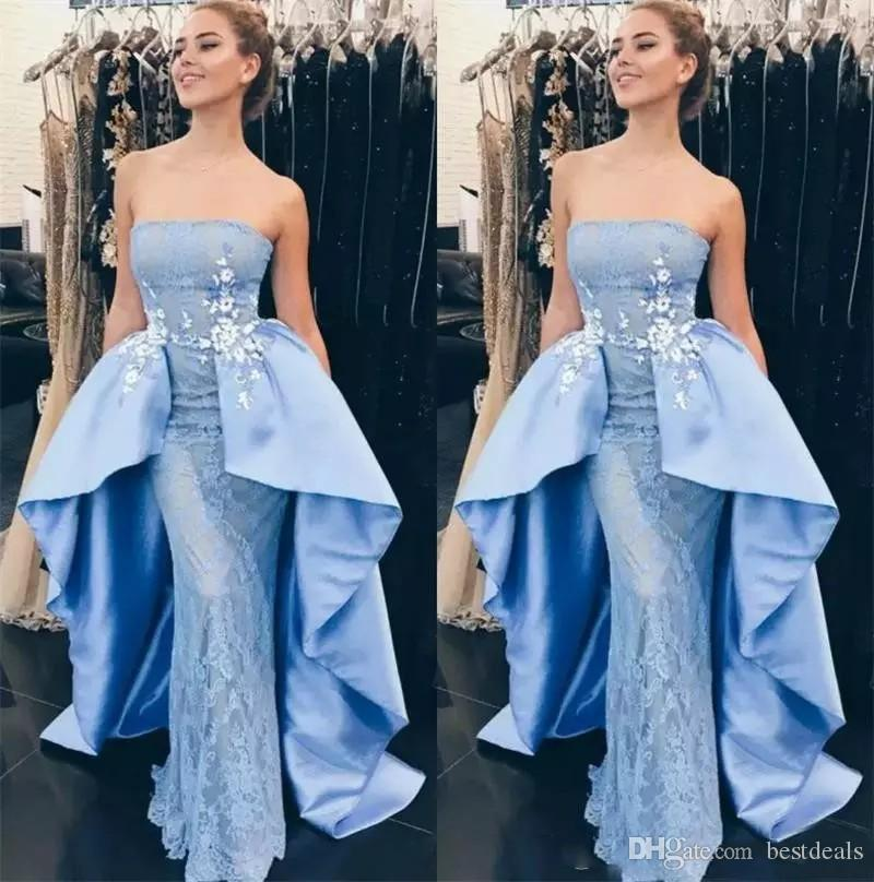 2018 Strapless Evening Dresses Sheath Sleeveless Prom Gowns With Lace Applique Sky Blue Back Zipper Custom Made Formal Party Gowns