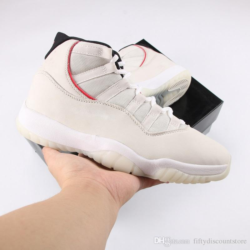 26593d7328beae Top Quality 2018 Newest Authentic 11 Platinum Tint 11S Red Gery White Men  Basketball Shoes Real Carbon Fiber Sneakers With Box 378037 016 Shoes  Canada ...