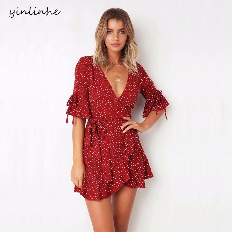 3887b5863 yinlinhe vestido de verano de lunares rojos de manga corta con cuello en V  vestido de abrigo atractivo vestido de mujer cintura delgada elegante Boho  ...