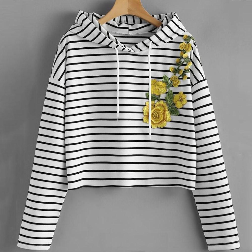 4506cceab94 ... Stripe Hoodie Women Sweatshirt Summer Casual Long Sleeve Crop Top  Pullover Tops 2018 Femela T Shirt Long Sleeve Tee Shirts Design Your Own T  Shirts From ...