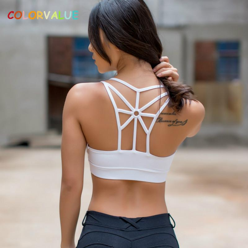 d92825d11e value Breathable Strappy Yoga Running Bras Women Padded Mid Support Sports  Bra Quick Dry Push Up Athletic Underwear From Johiny