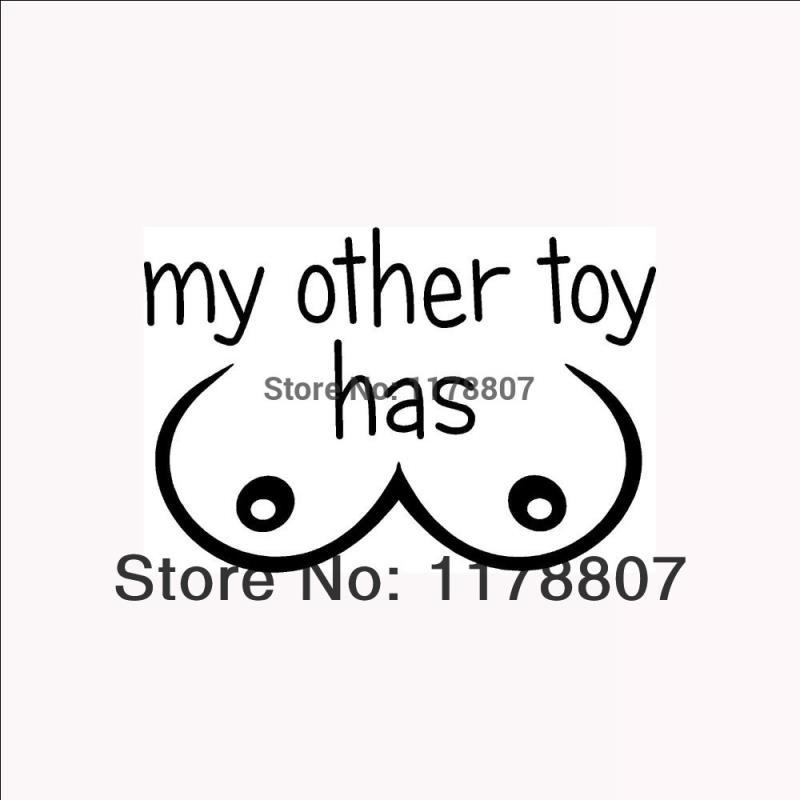 HotMeiNi Wholesale 20pcs/lot My Other Toy Has Boobs Funny Sticker Car Rear Windshield Truck SUVLaptop Art Wall Etc Vinyl Decal 8 Colors