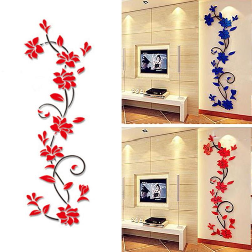 KAKUDER Top Grand DIY Flower Crystal Arcylic 3D Wall Stickers Decal Home Decor Living Room Wall Decorations Pegatinas De Pare