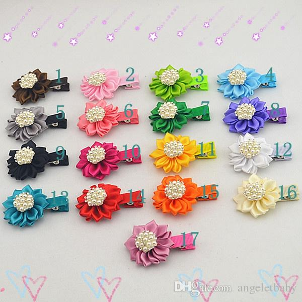 17pcs Kids Hair flower Alligator Clip Accessories for Girls pearl CZ Rhinestone satin ribbon flowers barrettes Hairpins headwear FJ072