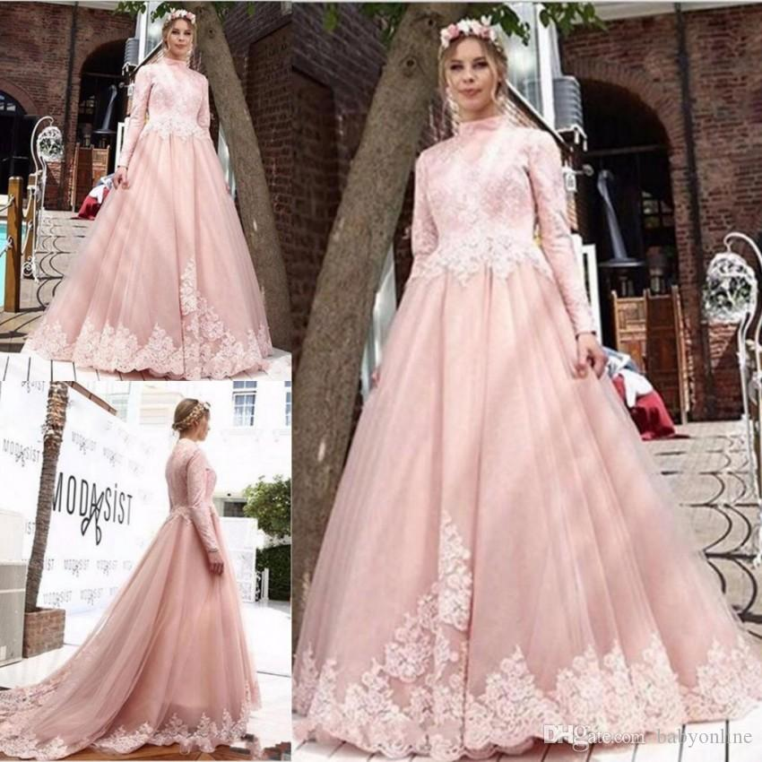 1aa38685b98 Vintage Pink Arabic Evening Dresses Muslim Saudi Arabic Formal Party Gowns  A Line High Neck Long Sleeves With Appliques Celebrity Gowns Missguided  Evening ...