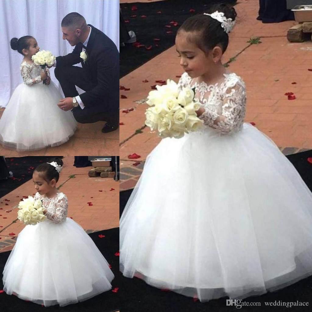 2018 Weiße Blume Mädchen Kleider Langarm Spitze Applique Bodenlangen Kommunion Kleid Partykleid Für Hochzeit Geburtstag