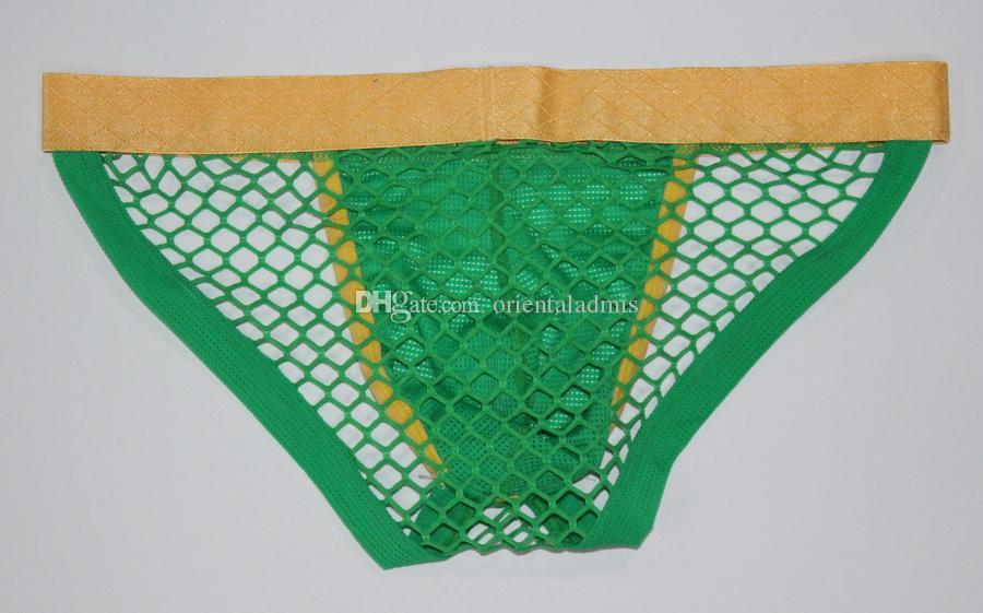 #2015DK Mesh holes Wholesale sexy men's underwear transparent gauze pouch briefs underpants panties cuecas male extra-thin briefs