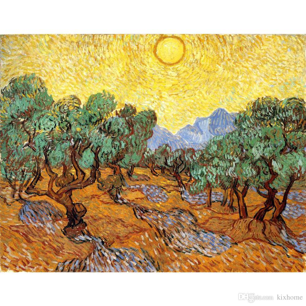 Acheter Peinture À Lu0027huile Fait À La Main Des Oliviers Avec Le Ciel Jaune  Et Le Soleil Vincent Van Gogh Photo Pour Le Décor De La Chambre De $126.64  Du ...