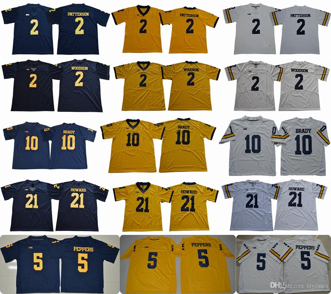 2019 2018 Mens Michigan Wolverines 2 Shea Patterson 21 Desmond Howard 10  Tom Brady 2 Charles Woodson 5 Jabrill Peppers College Football Jerseys From  Tryones ... b13ad7ca9