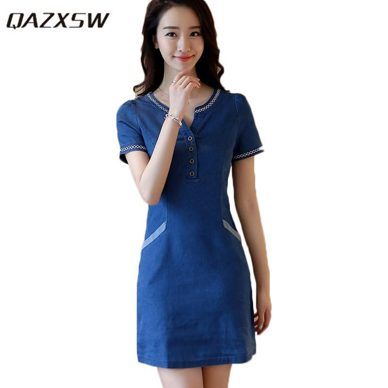 QAZXSW Spring Summer Plus Size Denim Dress For Women 2018 Harajuku Jeans  Dress With Button Casual Vestidos Feminino HB661