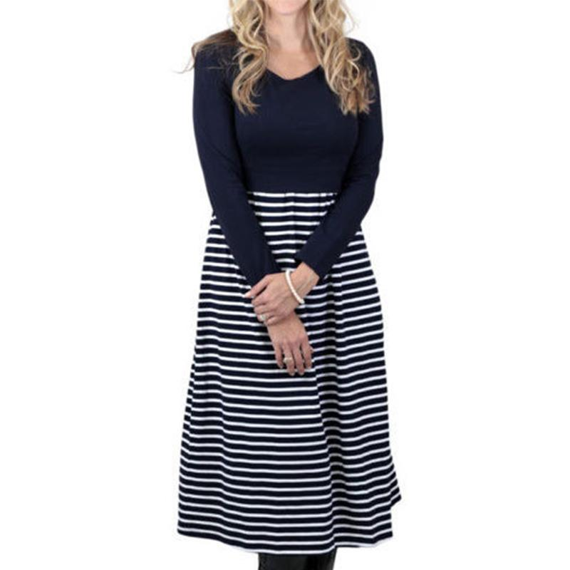 0f3bcad6544e6 2019 2018 Summer Autumn Nursing Maternity Dress Cotton Stripe Long Sleeve  Breast Feeding Dresses For Pregnant Women Bottom Clothes From  Ouronlinelife, ...