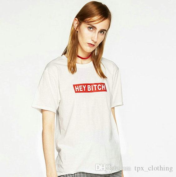 Hey bitch t shirt Cool words Anti pilling short sleeve gown Street leisure  tees Unisex clothing Pure color cotton Tshirt