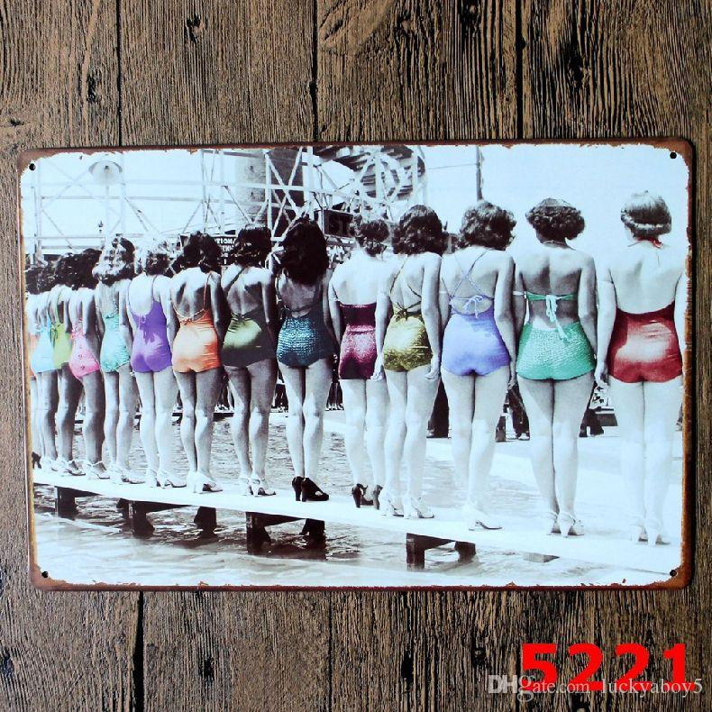 b4ad0b23e3b14 2019 A ROW OF SEXY GIRLS IN SWIMSUITS Metal Sign Vintage Garage Wall Art  Pin Up Poster Pub Restaurant Bar Sign Home Decor Antique Tray From  Luckyaboy5