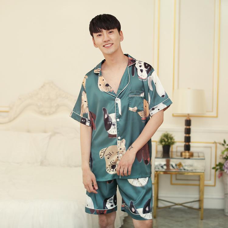 de14550d68 2019 Silk Men S Pajamas Cartoon Thin Summer Silk Pajama Set With Shorts  Short Sleeves Loungewear Satin Sleepwear Casual Print Dog From Bunnier