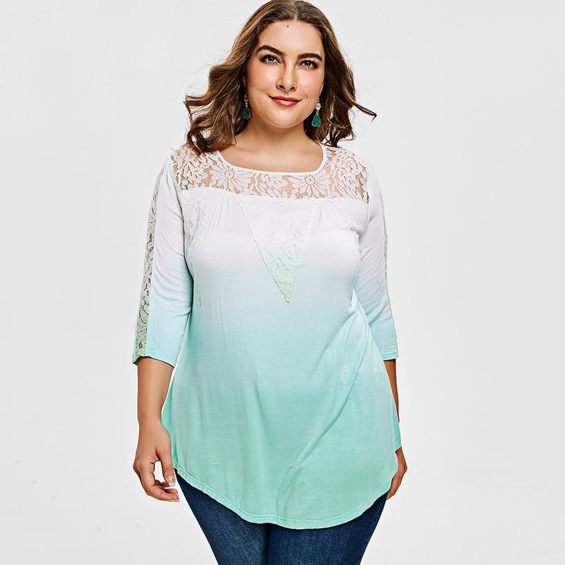 68e8542f9d092 Tafforda Plus Size Lace Yoke Ombre Tunic T Shirt Women Summer Square Neck  3/4 Sleeves T Shirt Tops Casual Tunic T Shirts New Design Shirts Cool  Tshirts From ...
