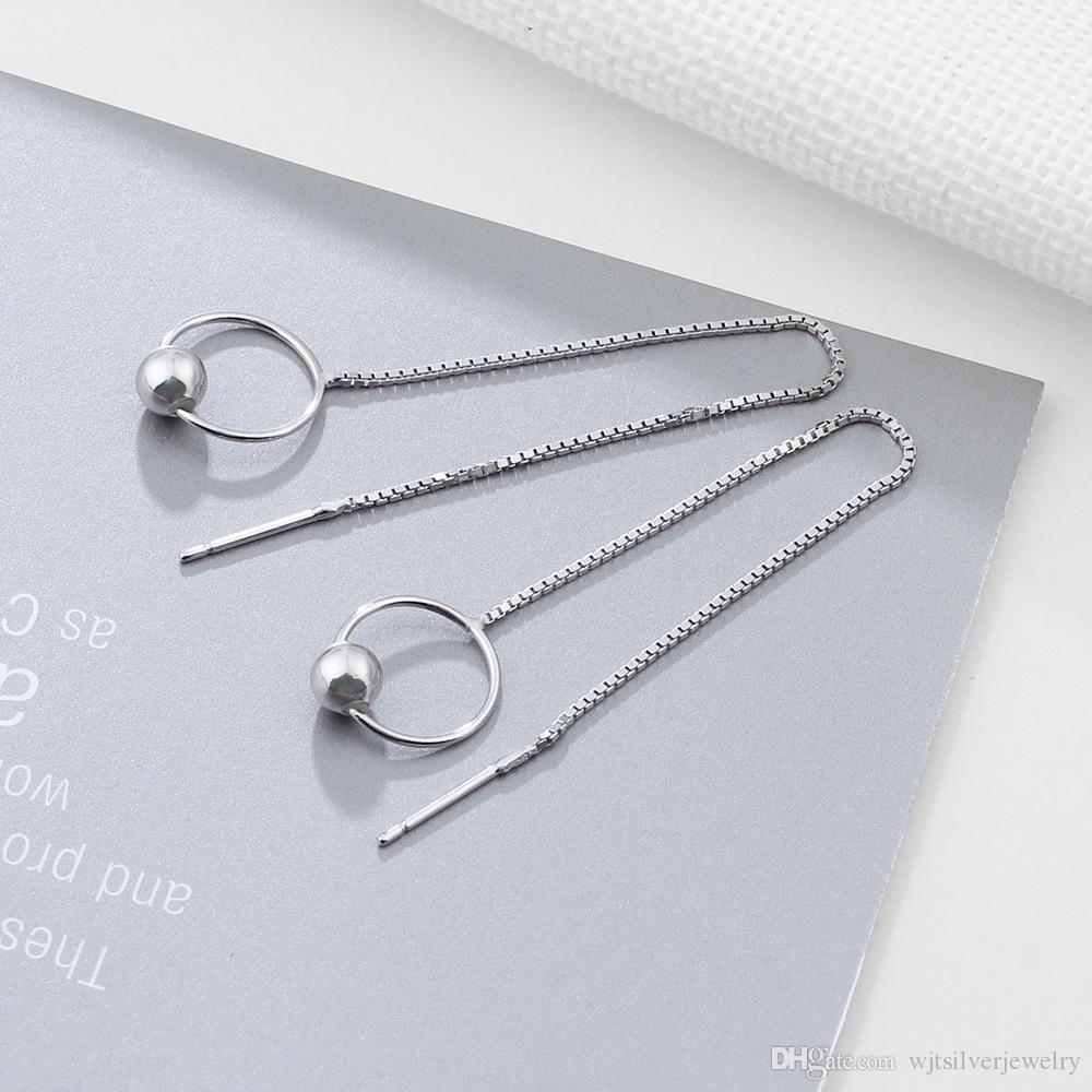 long sterling silver box chain copper round bead earrings Cute Simple Dangle Earrings for Young Girls #EA101995