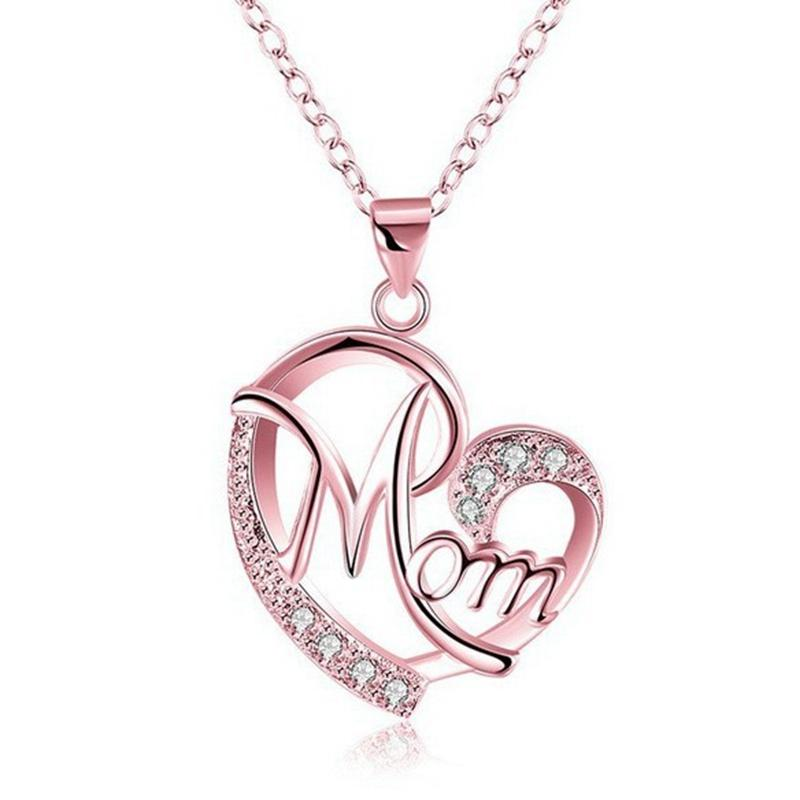 wholesale letter mom inlaid crystal pendant necklace mothers birthday gift woman necklaces jewelry mothers day gifts drop shipping necklaces for men white