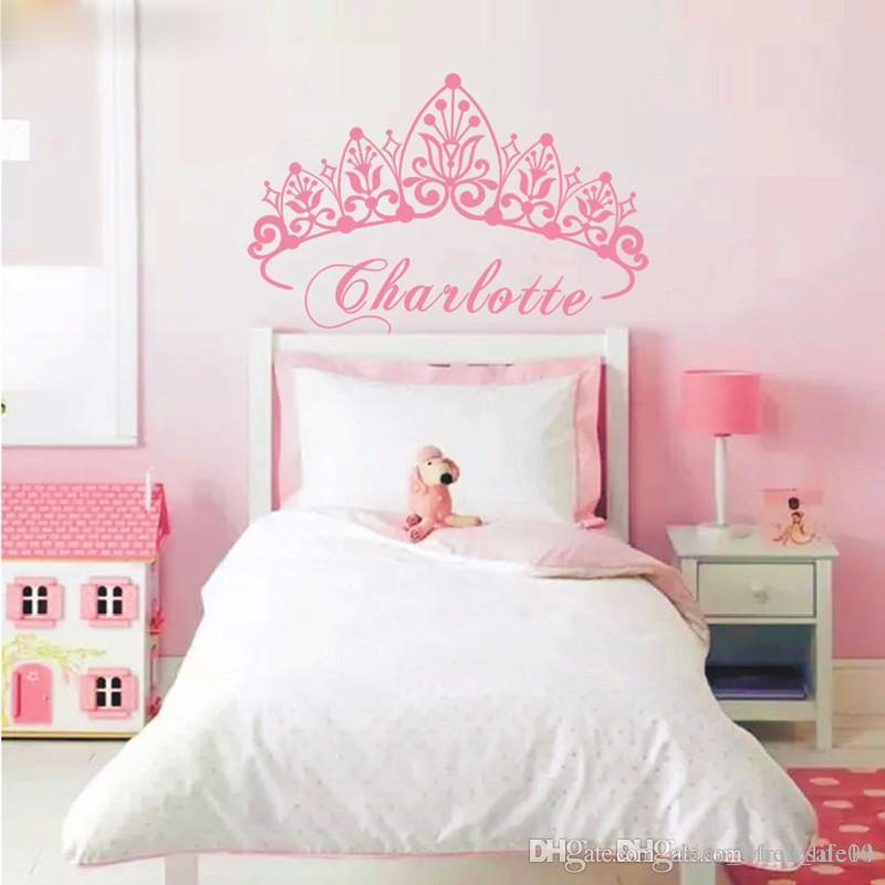 T07033 Eco-friendly Baby Girl Crown Wall Sticker Custom Name Decals Wall  Sticker Kids Room Girls Bedroom Wall Art Decoration