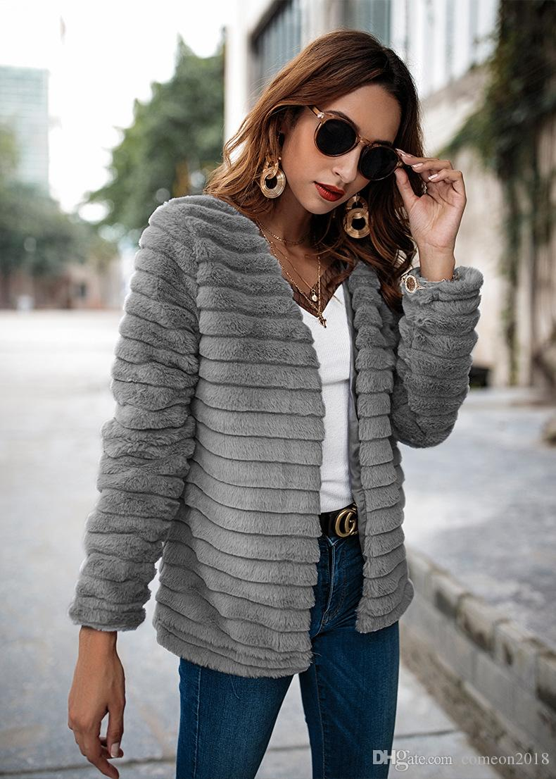 f7737d3ee67 Women Clothes 2018 Winter Jackets Rabbit Hair Coat Casual Gray Fashion  Jacket Outerwear Casual Office Good Quality Faux Fur Overcoat Leather  Jackets Jacket ...