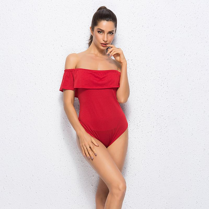 bdc72ef38820 Red Ruffles Off Shoulder Bodysuit Women Combinaison Femme Backless Sexy  Rompers Jumpsuit Skinny Bodycon Overalls Gold Party Dress Lady Dress From  ...