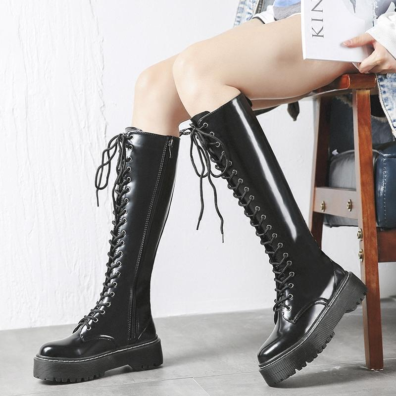 452e6e8da1ac New Over Knee High Leather Womens Gothic Punk Slouch Combat Boots Lace Up  Shoes C13 Boots For Women Black Boots From Lugudream, $126.77| DHgate.Com