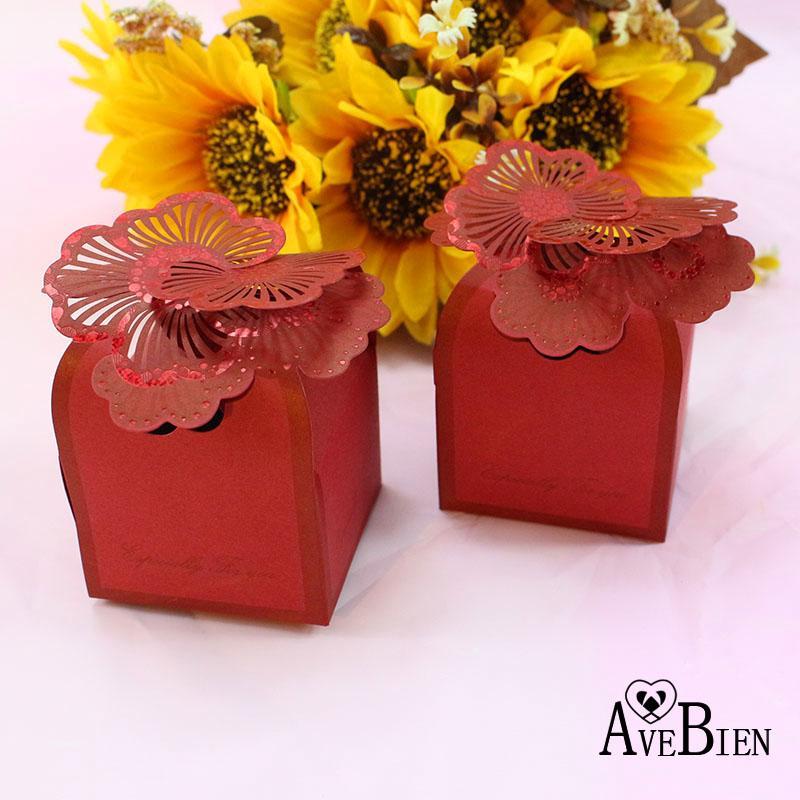 Avebien Laser Engraving Wedding Gift Box Flower Wedding Decoration
