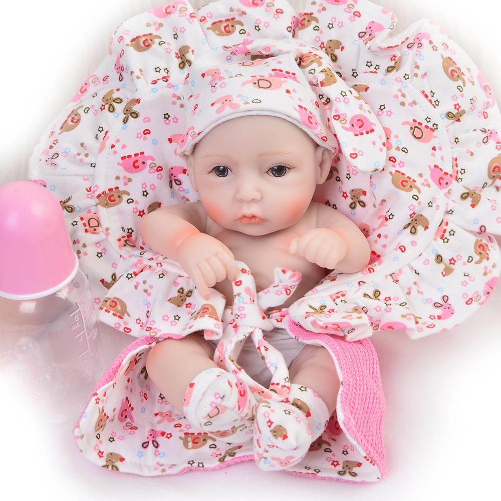 handmade 11 inch lifelike reborn girl baby doll full silicone vinyl