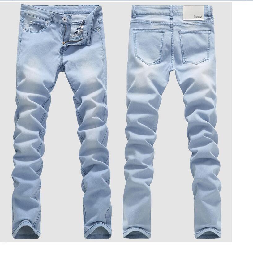 66a04017ece 2019 Good Quality Light Blue Skinny Jeans Men Spring Summer Slim Denim Jeans  Men Cotton Elastic Denim Pants Cowboy Trousers From Sikaku, $24.58 |  DHgate.Com