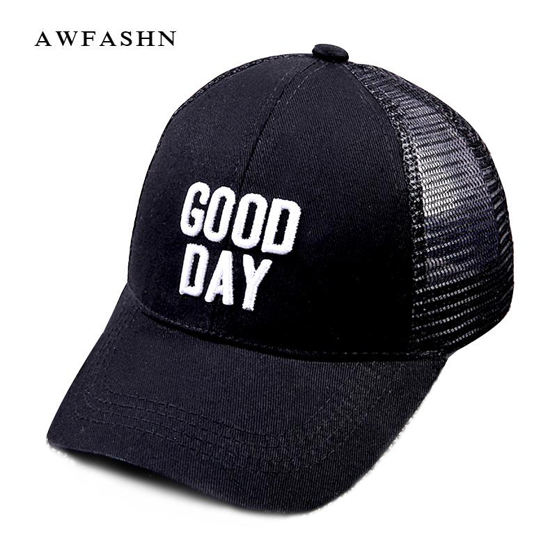 dc55a180c6 Good Day Letter Embroidery Mesh Baseball Caps Leisure Sun Hat Man Woman  High Quality Black Sport Solid Shades Bone Summer Golf Custom Caps Cool Caps  From ...