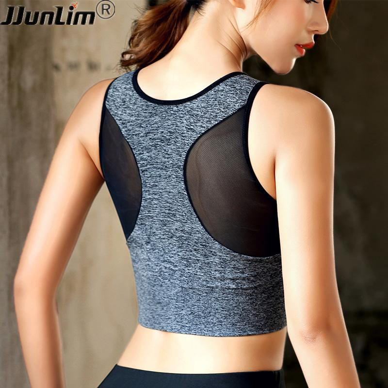 fd9dae057f Sports Bra Women Mesh Fitness Top Bra Shakeproof Padded Yoga Workout Gym Top  Seamless Push Up Running Tank Yoga Vest UK 2019 From Comen