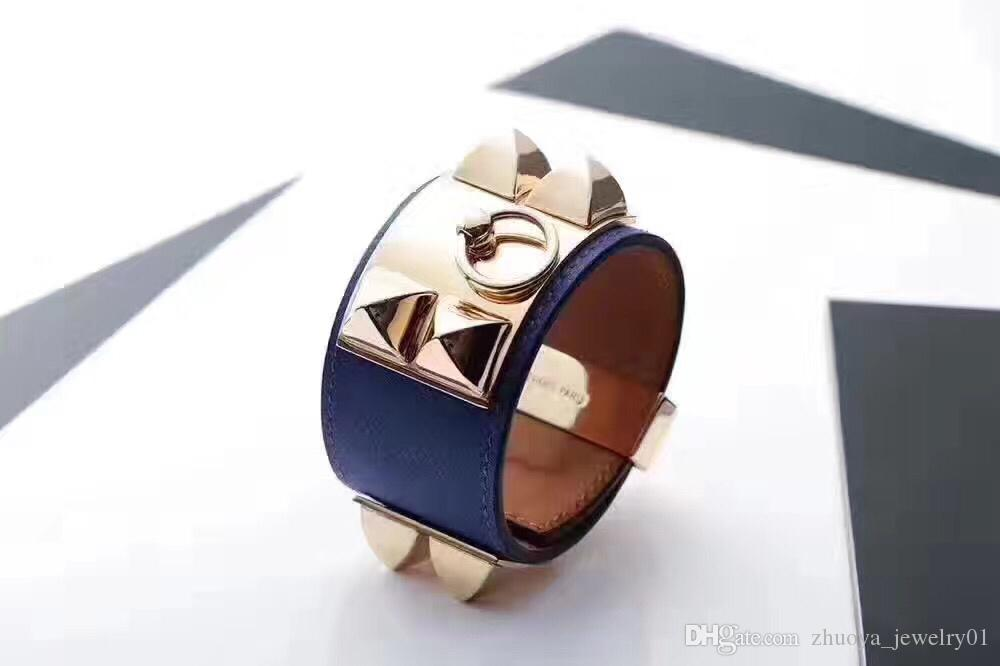 Bracelet large en cuir de huit clous en acier inoxydable avec motif punk pour hommes et femmes