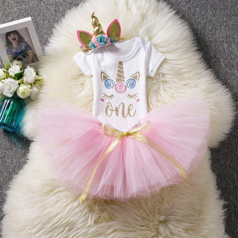Conjuntos de unicornio para bebés, bebés, un mameluco + faldas de encaje TUTU de arco + tocado / set Trajes de cumpleaños para recién nacidos boutique Conjuntos de ropa para niños H036